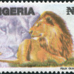 NIGERIA - CIRCA 1993: A stamp printed in Nigeria, shows lion (Panthera leo), circa 1993 — Stock Photo
