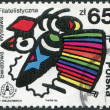 POLAND - CIRCA 1986: A stamp printed in Poland, dedicated to STOCKHOLMIA '86, shows pigeon with a Polish folk motif and a map of Sweden, circa 1986 — Stock Photo