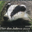 "GERMANY - CIRCA 2009: A stamp printed in Germany, dedicated to the ""Year of the Animal - 2010"", shows the Badger, circa 2009 - Stock Photo"