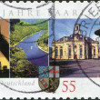Stock Photo: GERMANY - CIRC2007: stamp printed in Germany, is dedicated to 50th anniversary of Admission of Saarland into Federal Republic, circ2007