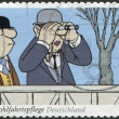 "GERMANY - CIRCA 2011: A stamp printed in Germany, a fragment of the Sketch comedy Loriot ""Auf der Rennbahn"", circa 2011 — Stock Photo"