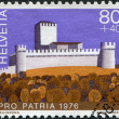 SWITZERLAND - CIRCA 1976: A stamp printed in Switzerland, shows Castle Montebello of Bellinzona, circa 1976 — Stock Photo #11974498