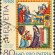 SWITZERLAND - CIRCA 1988: A stamp printed in Switzerland, dedicated to the 700 Years of art and culture - Swiss Minnesang, depicts Portrait of Master Johannes Hadlaub as a pilgrim, circa 1988 — Stock Photo #11974619