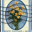 ITALY - CIRCA 1966: A stamp printed in Italy, shows a bouquet of Garland chrysanthemum, circa 1966 — Lizenzfreies Foto