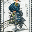 SPAIN - CIRCA 1968: A stamp printed in Spain, shows a woman in folk dress of the region Cuenca, circa 1968 — Stok fotoğraf