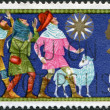 UNITED KINGDOM - CIRCA 1969: A stamp printed in England, shows three shepherds and the Star of Bethlehem, Christmas, circa 1969 — Stock Photo