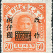 Stock Photo: CHIN- CIRC1946: stamp printed in Chin(Taiwan), shows Chinese revolutionary and first president and founding father of Republic of ChinSun Yat-sen (overprint, 1948, North-Eastern Provin