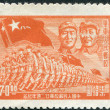 Stock Photo: CHIN- CIRC1949: stamp printed in China, shows general Zhu De, Mao Tse-tung and marching unit, circ1949