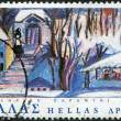 """GREECE - CIRCA 1978: A stamp printed in Greece, shows a scene from a fairy tale """"The 12 Months"""" by Konstantin Kourampas, circa 1978 — Stock Photo"""