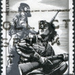 GREECE - CIRCA 1982: A stamp printed in Greece, dedicated to the National Resistance Movement, 1941 - 1944, shows a Partisan Men and Women, by P.Gravalos, circa 1982 — Stock Photo
