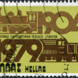 GREECE - CIRCA 1979: A stamp printed in Greece, is dedicated to the 75th anniversary of the railway Piraeus - Athens, shows a steam locomotive and diesel locomotive, circa 1979 — Stock Photo