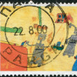 GREECE - CIRCA 2000: Postage stamps printed in Greece, dedicated to Stampin the Future Childrens Stamp Design Contest Winners, shows Robots by Ornella Moshovaki-Chaiger, circa 2000 — Stock fotografie