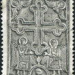 GREECE - CIRCA 1966: Postage stamps printed in Greece, shows bas-relief (cross and angel) of the Monastery of Great Lavra, Mount Athos, circa 1966 — Stock Photo