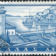 GREECE - CIRCA 1961: Postage stamps printed in Greece, shows Hydra harbor, circa 1961 — Stock Photo