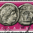 GREECE - CIRC1959: Postage stamps printed in Greece, shows Ancient Greek Coins: Apollo & Lyre, circ1959 — Stock Photo #11975381