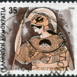 Stock Photo: GREECE - CIRC1986: Postage stamps printed in Greece, shows Gods of Olympus, Athena, circ1986