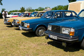 """PAAREN IM GLIEN, GERMANY - MAY 26: Various modifications of cars Volvo 240, """"The oldtimer show"""" in MAFZ, May 26, 2012 in Paaren im Glien, Germany — Stock Photo"""