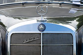 "PAAREN IM GLIEN, GERMANY - MAY 26: The emblem of Mercedes Benz 220 S, ""The oldtimer show"" in MAFZ, May 26, 2012 in Paaren im Glien, Germany — Foto de Stock"