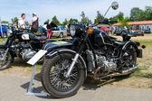 Paaren im glien, allemagne - 26 mai : la moto avec les ural retro sidecar, « l'oldtimer show » en mafz, 26 mai 2012 à paaren im glien, allemagne — Photo