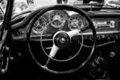 """PAAREN IM GLIEN, GERMANY - MAY 26: Cab Alfa Romeo Giulietta Sprint Speciale (Black and White), """"The oldtimer show"""" in MAFZ, May 26, 2012 in Paaren im Glien, Germany — Stock Photo"""