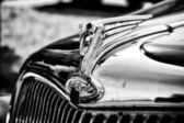 "PAAREN IM GLIEN, GERMANY - MAY 26: The emblem of the car Ford Model 48 (V8) Special, Black and White, ""The oldtimer show"" in MAFZ, May 26, 2012 in Paaren im Glien, Germany — Stock Photo"
