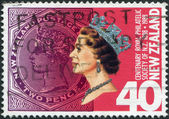 NEW ZEALAND - CIRCA 1988: Postage stamps printed in New Zealand, is dedicated to the 100th anniversary of the Royal Philatelic Society of NZ, shows Queen Elizabeth II, circa 1988 — 图库照片