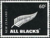 NEW ZEALAND - CIRCA 2010: Postage stamps printed in New Zealand, shows the emblem of All Blacks - New Zealand national rugby union team, circa 2010 — Stock Photo