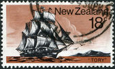 """NEW ZEALAND - CIRCA 1975: A stamp printed in New Zealand, shows a sailboat """"Tory"""", circa 1975 — Stockfoto"""