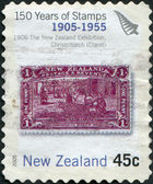 NEW ZEALAND - CIRCA 2005: Postage stamps printed in New Zealand, is dedicated to the 150th anniversary postage stamp NZ, shows Maori Art, circa 2005 — Stock Photo
