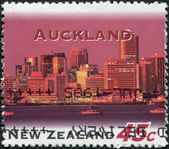 NEW ZEALAND - CIRCA 1995: A stamp printed in New Zealand, shows Auckland at Night, circa 1995 — Stock Photo