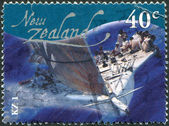 NEW ZEALAND - CIRCA 2002: Postage stamps printed in New Zealand, shows yacht KZ1, circa 2002 — Foto Stock