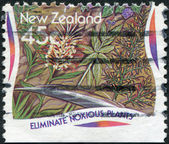 NEW ZEALAND - CIRCA 1995: A stamp printed in New Zealand, is dedicated to Eliminate noxious plants, circa 1995 — Stock Photo