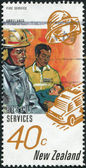 NEW ZEALAND - CIRCA 1996: A stamp printed in New Zealand, shows the Fire service, ambulance, circa 1996 — Stock Photo