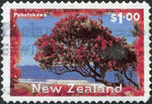 NEW ZEALAND - CIRCA 1996: Postage stamps printed in New Zealand, shows a Christmas tree - Pohutukawa tree (Metrosideros excelsa), circa 1996 — Stock Photo