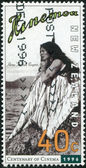 """NEW ZEALAND - CIRCA 1996: A stamp printed in New Zealand, is dedicated to the 100th anniversary of the movie, shows promotional screen shot """"Hinemoa"""" by George Tarr (1914), circa 1996 — Stock Photo"""