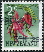 NEW ZEALAND - CIRCA 1967: Postage stamps printed in New Zealand, shows a flower Kaka Beak (Clianthus puniceus), circa 1967 — Stock Photo