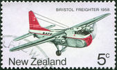 NEW ZEALAND - CIRCA 1974: Postage stamps printed in New Zealand, dedicated to the development of New Zealand's air transport, aircraft depicted Bristol freighter, circa 1974 — Stock Photo