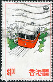 HONG KONG - CIRCA 1977: A stamp printed in the Hong Kong dedicated to tourism, is depicted Funicular railway, circa 1977 — Stock Photo