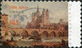 Alemania - circa 2010: un sello impreso en alemania, está dedicada al aniversario del 1100th de limburg un der lahn, muestra la catedral católica de limburg, circa 2010 — Foto de Stock
