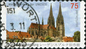 GERMANY - CIRCA 2011: A stamp printed in Germany, shows the Cathedral Saint Peter, Regensburg (builds in 1273-1520), circa 2011 — Stock Photo