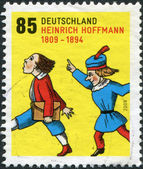GERMANY - CIRCA 2009: A stamp printed in Germany, is dedicated to the 200th anniversary of Heinrich Hoffmann, depicts a scene from a children's book Struwwelpeter, circa 2009 — Stock Photo