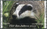 "GERMANY - CIRCA 2009: A stamp printed in Germany, dedicated to the ""Year of the Animal - 2010"", shows the Badger, circa 2009 — Stock Photo"