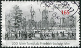 GERMANY - CIRCA 2011: A stamp printed in Germany, dedicated to 200 years of gymnastic place Friedrich Ludwig Jahn, circa 2011 — Stock Photo