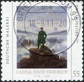 Germany - circa 2011. A stamp printed in germany, devoted to Caspar David Friedrich, shows a picture of Wanderer above the Sea of fog — Stock Photo