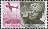 GERMANY - CIRCA 2010: A stamp printed in Germany, is dedicated to the 75th anniversary of the record flight Elly Beinhorn between Europe and Asia, circa 2010 — Stock Photo