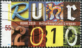 GERMANY - CIRCA 2010: A stamp printed in Germany, is dedicated to Ruhr-Cultural Capital of Europe 2010, circa 2010 — Stock Photo