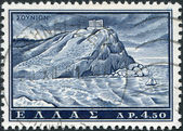 GREECE - CIRCA 1961: A stamp printed in Greece, shows Temple of Poseidon at Cape Sounion, built circa 440 BC, circa 1961 — Stock Photo