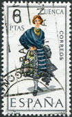SPAIN - CIRCA 1968: A stamp printed in Spain, shows a woman in folk dress of the region Cuenca, circa 1968 — 图库照片