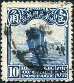 CHINA - CIRCA 1913: A stamp printed in China (Taiwan), is depicted Junk (postage stamp printed in London), circa 1913 — 图库照片