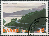 GREECE - CIRCA 1979: A stamp printed in Greece, shows the natural landscape of Sithonia-Halkidiki, circa 1979 — Stock Photo